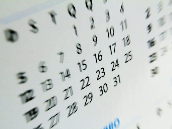 Calendário da mudança