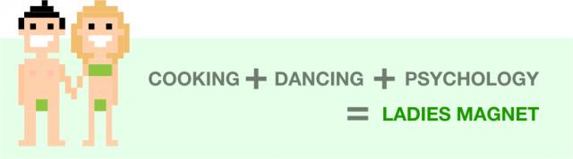 Cozinhar + Dançar + Psicologia=Ímã de mulheres
