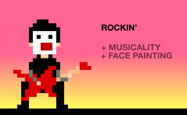 Tocar guitarra=mais musicalidade, mais tinta no rosto