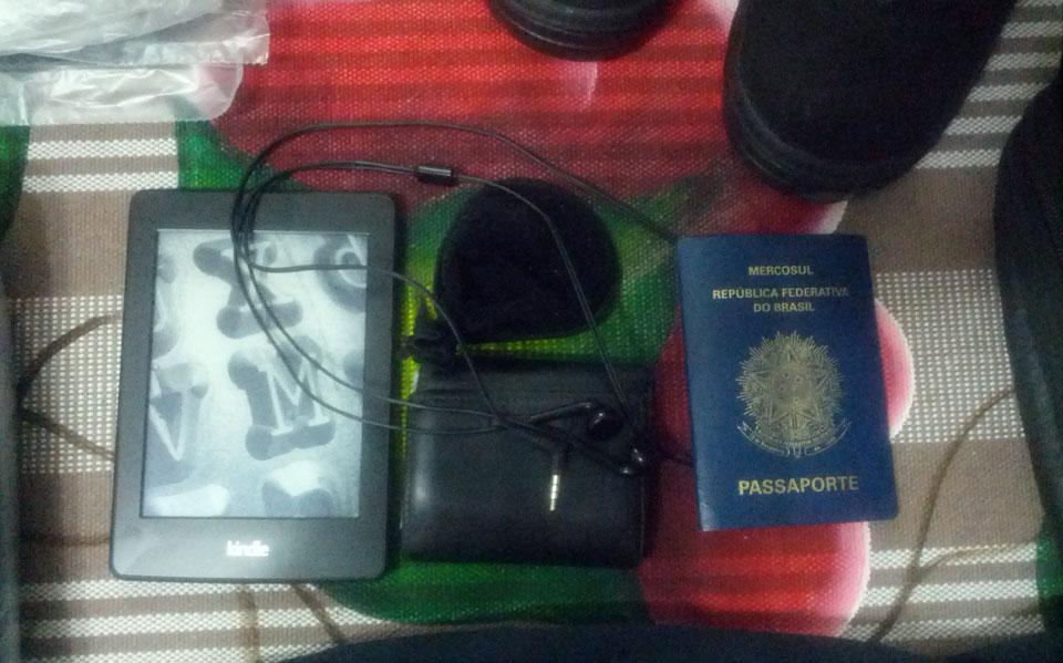 Alguns itens que levei comigo, fora da mochila mágica.