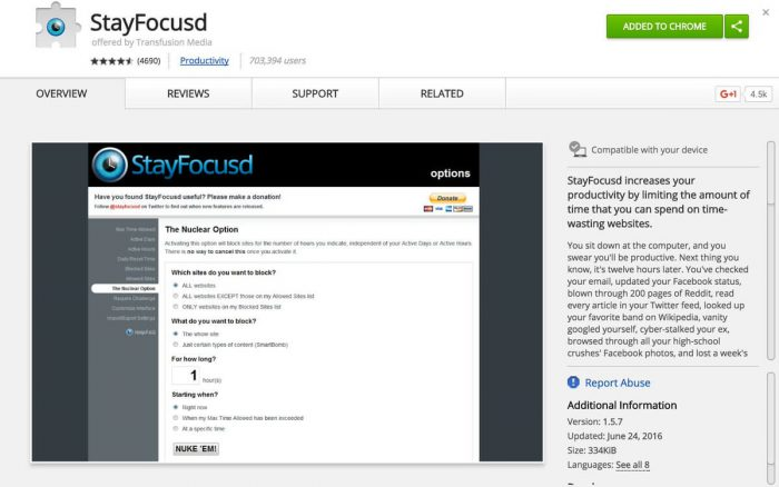 StarFocusd Chrome Extension